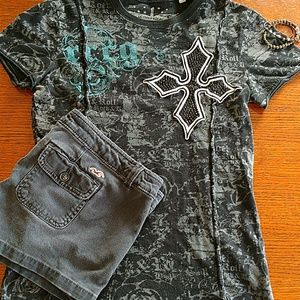 Cute outfit Rock & Roll Cowgirl & Hollister shorts